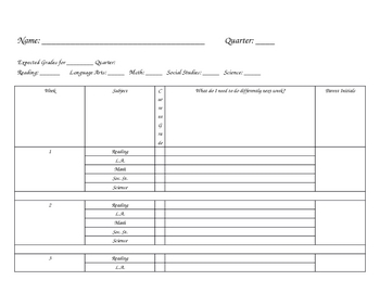 Grade Tracking Sheet for Students