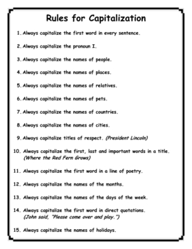 Grammar - Capitalization Rules and Practice for Grades 3-6