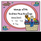 "Grammar Center Game ""Inflected Endings"" -s -es -ed -ing {E"