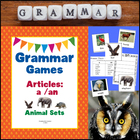 Grammar Games - Articles A, An (Animal Sets Edition)