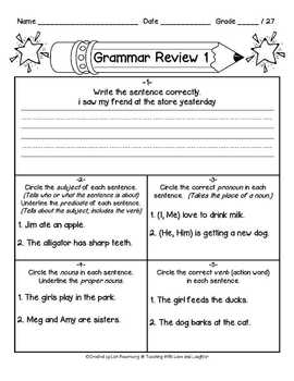 Grammar Review Sheet Lesson 1