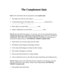 Grammar and Mechanics: Complement Quiz; Objects; Predicates