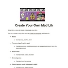 Grammar and Writing Mad Lib