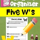 Graphic Organizer aligned to Common Core Reading (Five W's Chart)