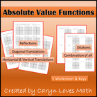 Graphing Absolute Value Practice worksheet with key