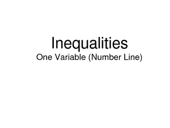 Graphing Inequalities on the Number Line