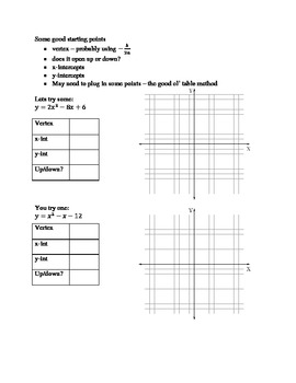 Graphing Quadratic Functions:  Guided Notes, Practice, Qui