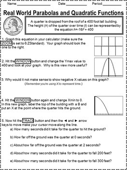 Graphing Quadratics Exploration Worksheet for TI Calculators