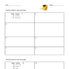 Graphing Review, Mean, Median, Mode, and LCM Worksheets