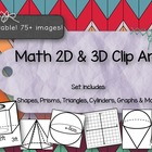 Graphs and 3d shapes clipart