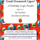 Great Ornament Caper Holiday Logic Enrichment Puzzle for K-2