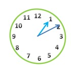 Green Analog Clock Clip Art in 5 Minute Increments.