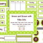 Green and Brown with Polka Dots Classroom Set Calendar, La