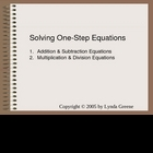 Greenebox-Solving one-step equations in Algebra