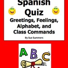 Greetings, Feelings, Alphabet & Class Commands Quiz or Worksheet