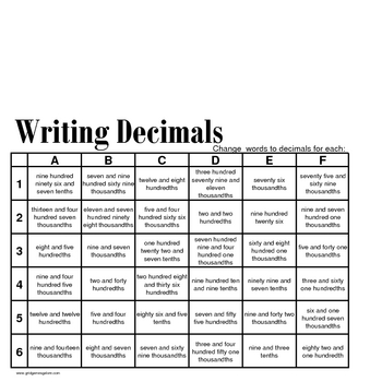 Grid Games for Elementary Math - Decimals