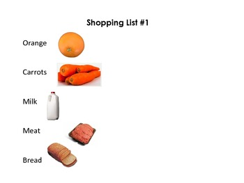 Grocery Shopping Leveled Games and Activities