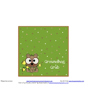 Groundhog Grub Treat Bag Toppers