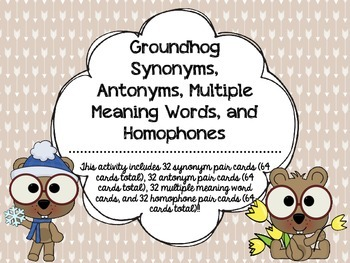 Groundhog Synonyms, Antonyms, Multiple Meaning Words, and