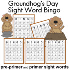 Groundhogs Day Sight Word Bingo Sheets
