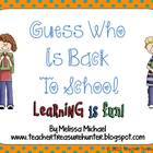 Guess Who is Back to School!  Game &amp; Open House Display