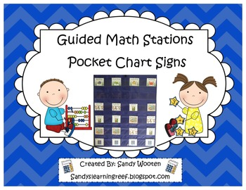 Guided Math and Math Stations Pocket Chart Signs (Ocean Themed)