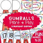 Gumballs - 3 Math Center Games for Early Number and Counting