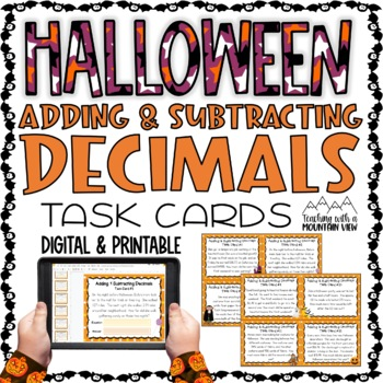 HALLOWEEN Adding and Subtracting Decimals Task Cards Word Problems