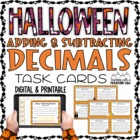 HALLOWEEN Adding and Subtracting Decimals Task Cards Word