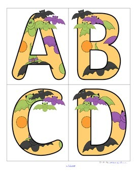 HAPPY BATS - Set of Large Alphabet Letters FREE