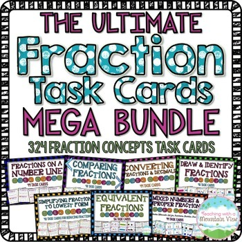 HUGE Fractions Concepts Bundle { 256 Common Core Aligned Fractions Task Cards }