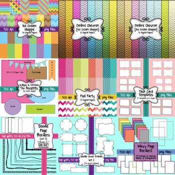 HUGE Seller's Toolkit Bundle #2! Digital Papers, Borders, Frames, and Accents