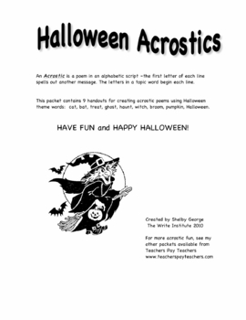 Halloween Acrostics,  fun poetry project handouts