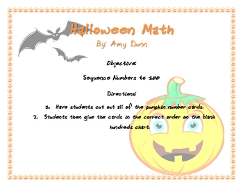 Halloween Activity: Sequencing Numbers to 100