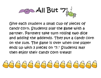 "Halloween All But ""7"" Math Game"