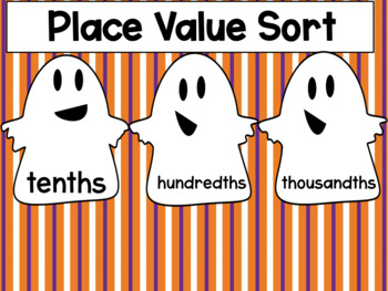 Halloween Center: Decimal Place Value Spooky Sort {Freebie}