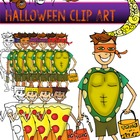 Halloween Clip Art {Ninja Turtle Witch Trick or Treaters Pumpkin