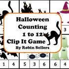 Halloween Counting 1 to 12 Clip It Game