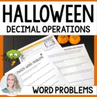 Halloween Decimal Word Problems