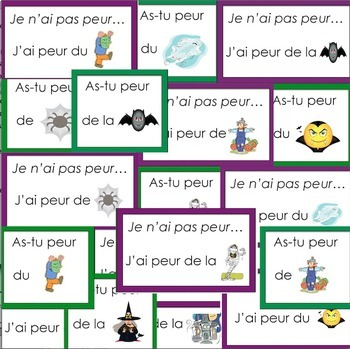 Halloween French Word Wall and Writing Activities