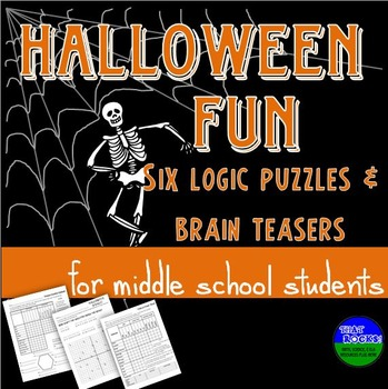 Halloween Fun- Six Logic Puzzles and Brain Teasers for Middle School