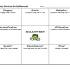 Halloween - Literary Devices Worksheet & Key