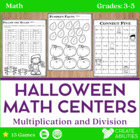Halloween Math Centers! Mulitplication and Division!