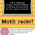 Halloween Math & Fall Math: Division Word Problems Center