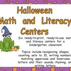 Halloween Math and Literacy Centers- Kindergarten