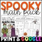 Halloween Morning Work: Math Sheets for 3rd & 4th Grades {