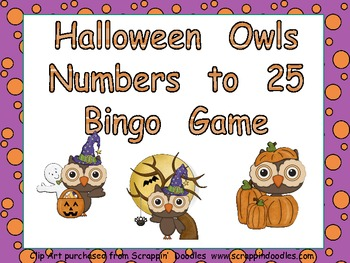 Halloween Owls Number Bingo Games- 1 to 25 Kindergarten