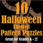 Halloween Themed Math Pattern Puzzles for K - 2nd grade