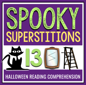 Halloween Reading Comprehension: Superstitions Readings, Questions, Task Cards