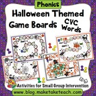 Halloween Themed Game Boards for CVC Words